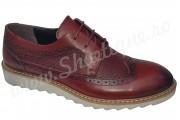 Pantofi maro-roscat din piele naturala pentru toamna