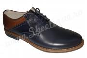 Pantofi casual din piele naturala bleumarin-maro
