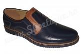 Pantofi din piele naturala bleumarin-maro