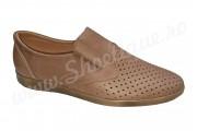 Pantofi de vara perforati  piele naturala maro