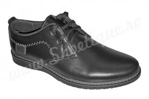 Pantofi negri cu detalii gri din piele naturala