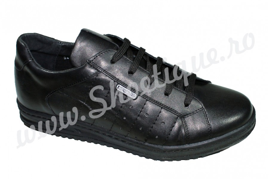 Pantofi sport piele naturala negri Nevalis - shoetique.ro 5f1eba2c3e