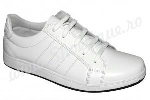 Pantofi sport barbati piele naturala albi