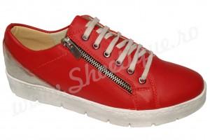ULTIMA PERECHE Pantofi dama din piele naturala rosii cu fermoar
